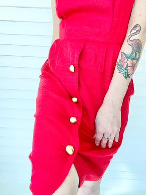 Red Button Mini Dress