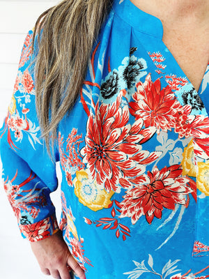 Hawaiian Print Blouse (Plus)