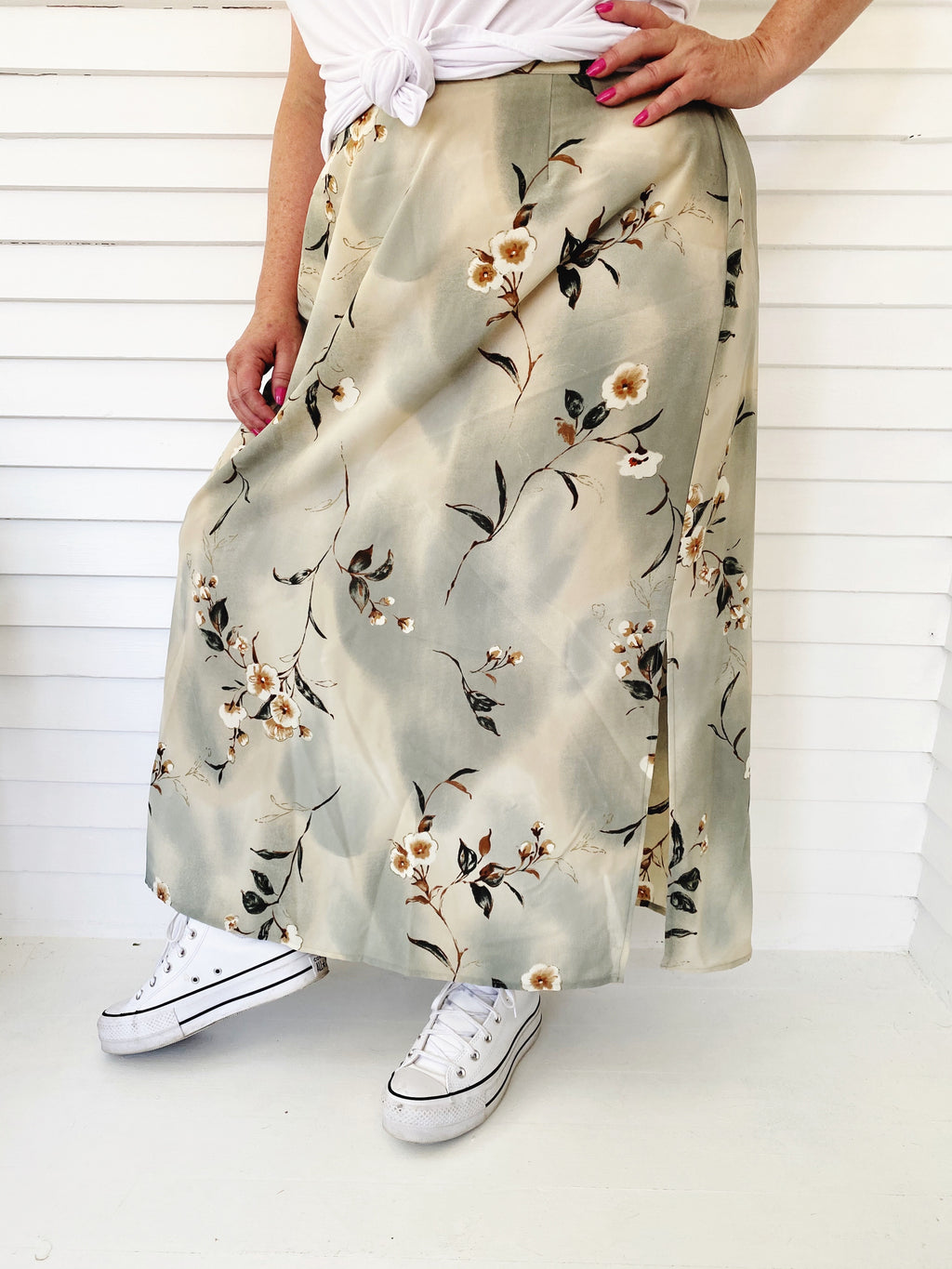 Sage Green Floral Midi Skirt (Plus)