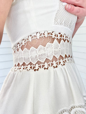White Knee Length Cut Out Dress