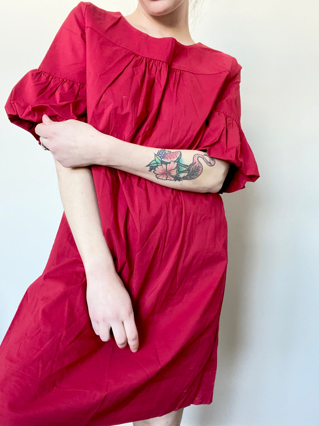 Red Shift Dress with Belle Sleeves