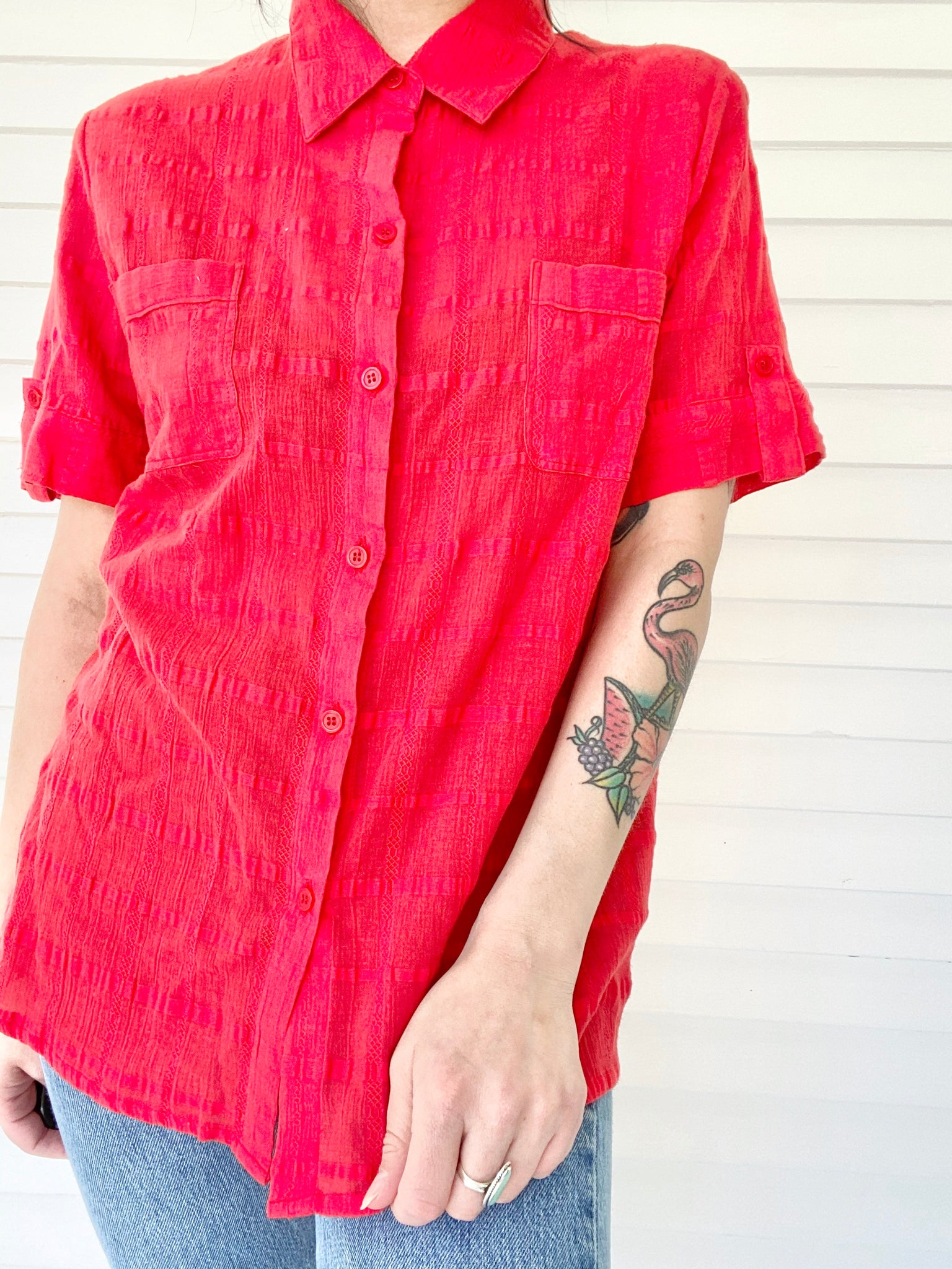Red Button Up Short Sleeve