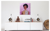 Original oil painting of a1968 African American vintage Barbie wearing a gold and silver jumpsuit placed above a credenza