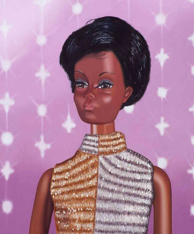 Original oil painting of a1968 African American vintage Barbie wearing a gold and silver jumpsuitoil painting