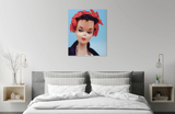 Original oil painting of a 1959 Chanel inspired vintage Barbie in a bedroom