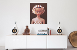 Oriignal oil painting of vintage Fashion Queen Barbie wearing a turban hanging above a credenza