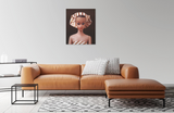 Oriignal oil painting of vintage Fashion Queen Barbie wearing a turban hanging above a leather sofa