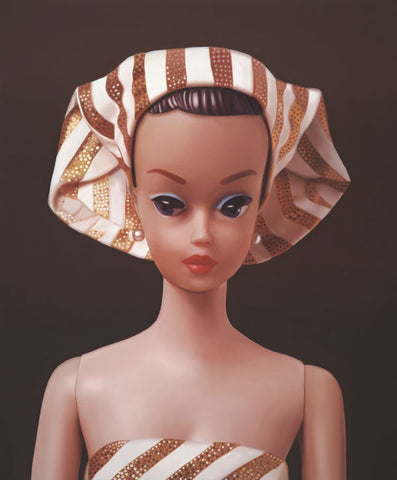 Oriignal oil painting of vintage Fashion Queen Barbie wearing a turban by Judy Ragagli