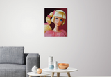 Original oil painting of a 1968 vintage mod Barbie with a side ponytail titled Golden Groove by Judy Ragagli displayed in a family room