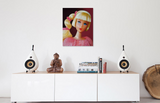 Original oil painting of a 1968 vintage mod Barbie with a side ponytail titled Golden Groove by Judy Ragagli displayed above a white credenza.