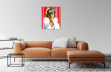 Original oil painting of a 1966 vintage Barbie titled Gala Abend by artist Judy Ragagli is displayed above a brown leather sofa.