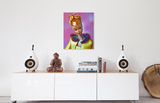 Original oil painting of a 1965 vintage Golden Glory Barbie by Judy Ragagli displayed above a credenza