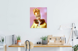 Original oil painting of a 1965 vintage Golden Glory Barbie by Judy Ragagli displayed above a desk