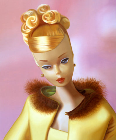 Original oil painting of a 1965 vintage Golden Glory Barbie by Judy Ragagli