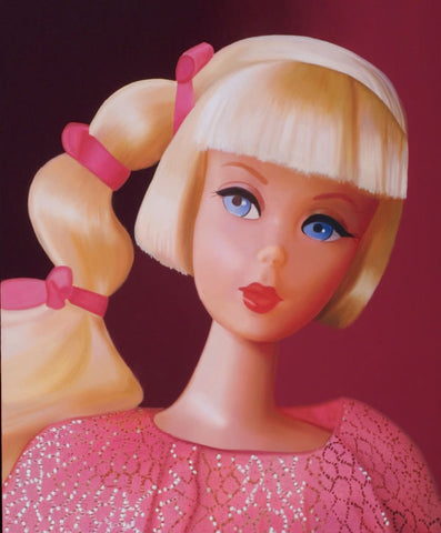 Original oil painting of a 1968 vintage mod Barbie with a side ponytail titled Golden Groove by Judy Ragagli