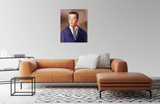 Original oil painting of a 1964 vintage Ken Doll displayed above a leather sofa by artist Judy Ragagli