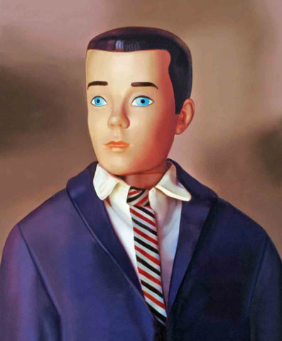 Original oil painting of a 1964 vintage Ken Doll by artist Judy Ragagli