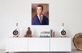 Original oil painting of a 1964 vintage Ken Doll by artist Judy Ragagli displayed above a white credenza