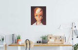 Original oil painting of a 1964 Platinum Swirl Barbie wearing pearls by artist Judy Ragagli displayed above a desk