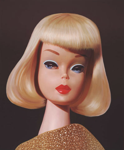 A vintage 1965 On the Avenue blond Barbie original oil painting by artist Judy Ragagli