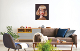 A vintage 1965 On the Avenue blond Barbie original oil painting by artist Judy Ragagli displayed in a family room