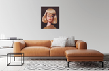 A vintage 1965 On the Avenue blond Barbie original oil painting by artist Judy Ragagli displayed above a brown leather sofa.