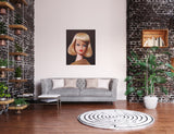 Vintage Barbie painting titled On the Avenue by Judy Ragagli hangs in a living room.
