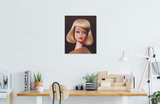 A vintage 1965 On the Avenue blond Barbie original oil painting by artist Judy Ragagli displayed above a desk