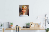Original 1964 Platinum Swirl Barbie oil painting by Judy Ragagli displayed above a desk