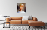 Original 1964 Platinum Swirl Barbie oil painting by Judy Ragagli displayed above a brown leather couch
