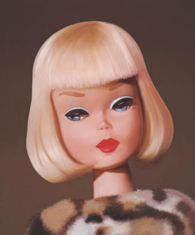 Original 1965 Saturday Matinee blonde Barbie wearing a leopard wrap oil painting by Judy Ragagli