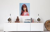 1967 Twist 'N Turn Barbie oil painting by Judy Ragagli above a white credenza