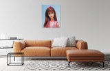 1967 Twist 'N Turn Barbie oil painting by Judy Ragagli above a brown leather couch.