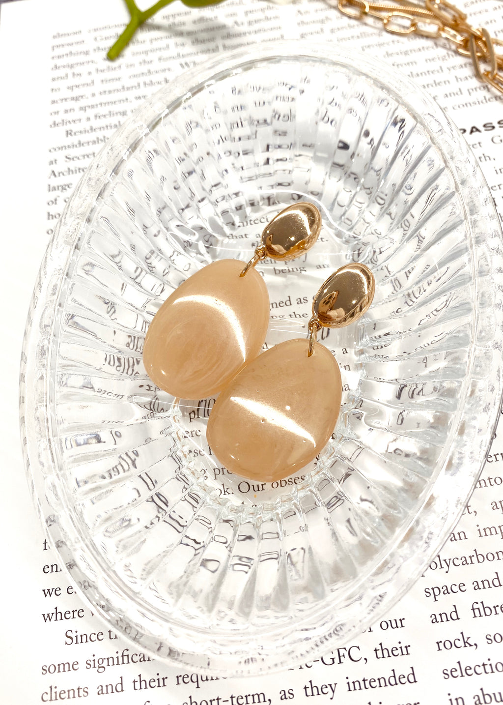 Lucien Earring - Gold/Nude Stone