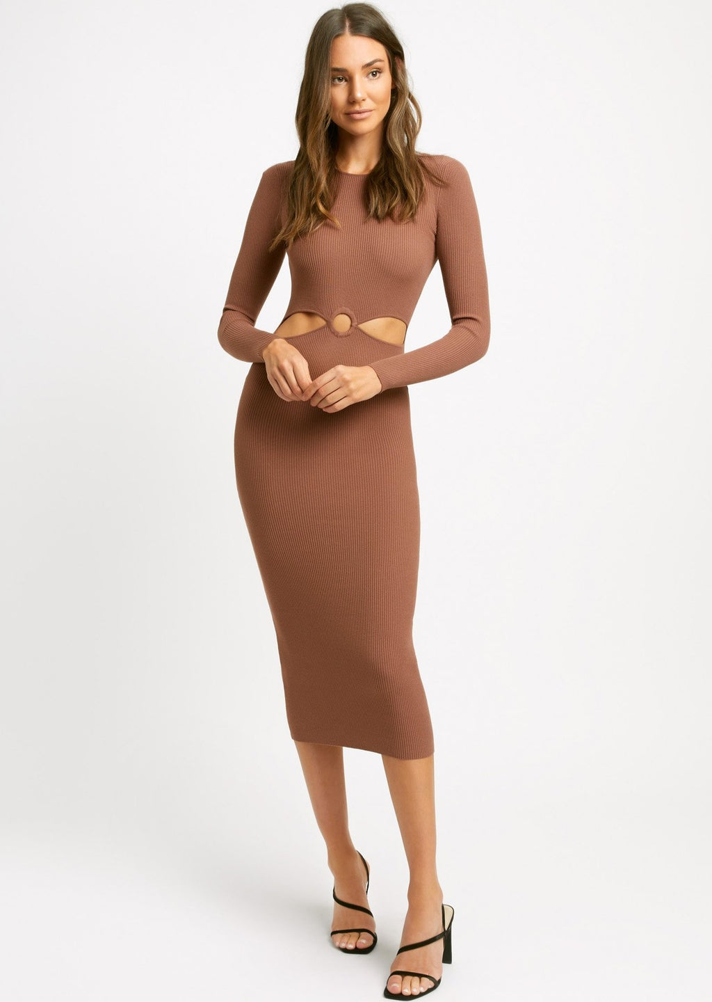Lola Long Sleeve Cut Out Dress (Cocoa) - Kookai