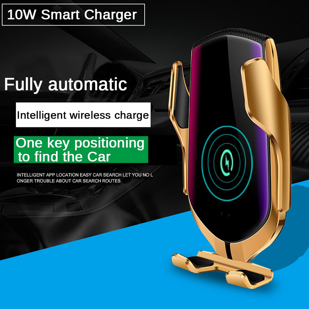 Automatic Clamping 10W Car Wireless Charger For iPhone Xs Huawei LG Infrared Induction