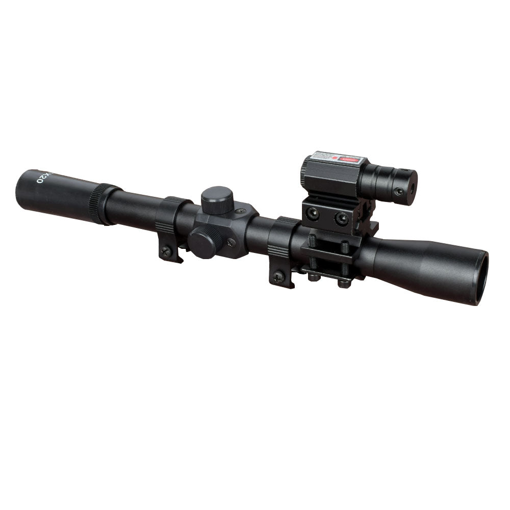 4x20 Rifle Optics Scope Tactical Crossbow Riflescope with Red Dot Laser Sight and 11mm Rail Mounts for 22 Caliber Guns Hunting