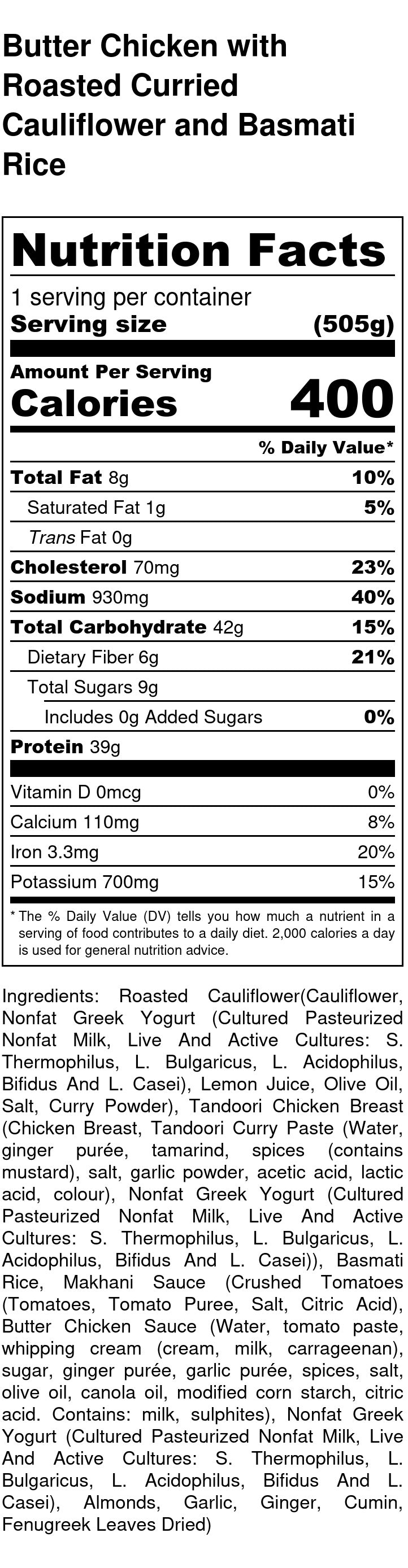 Butter Chicken Nutrition Facts