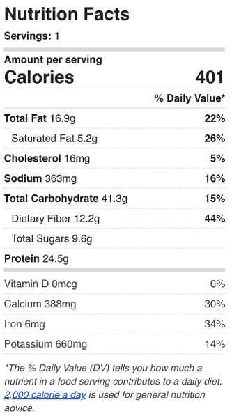 Butter Tofu Nutrition Facts