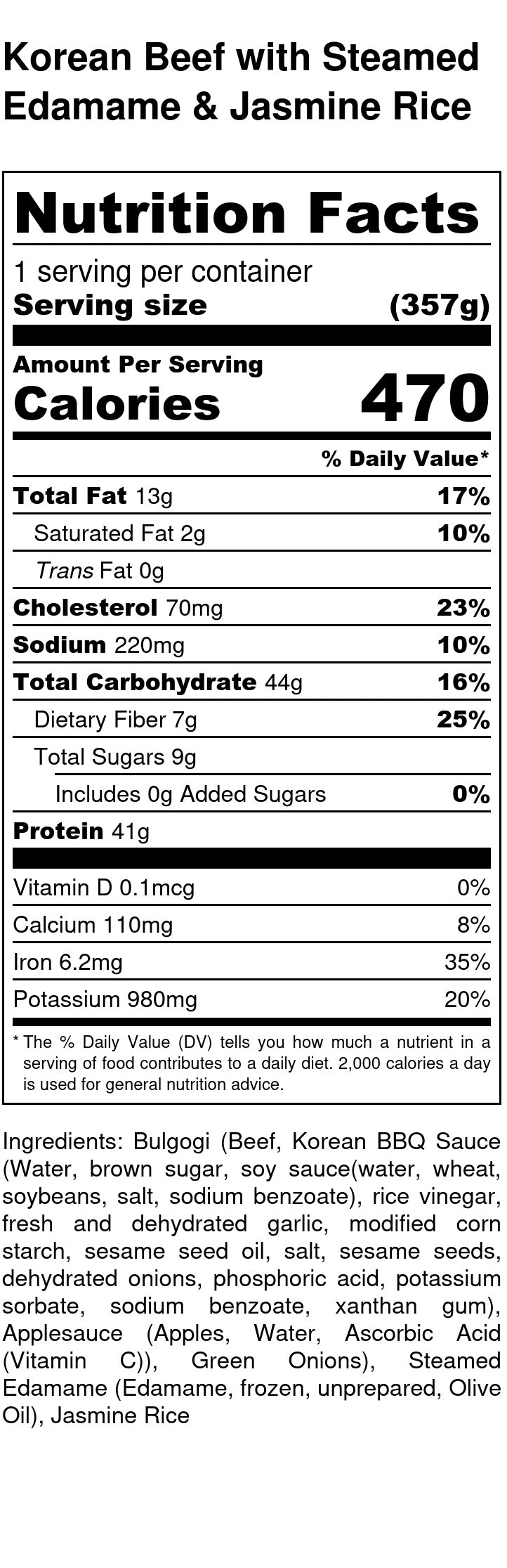 Korean Beef Nutrition Facts
