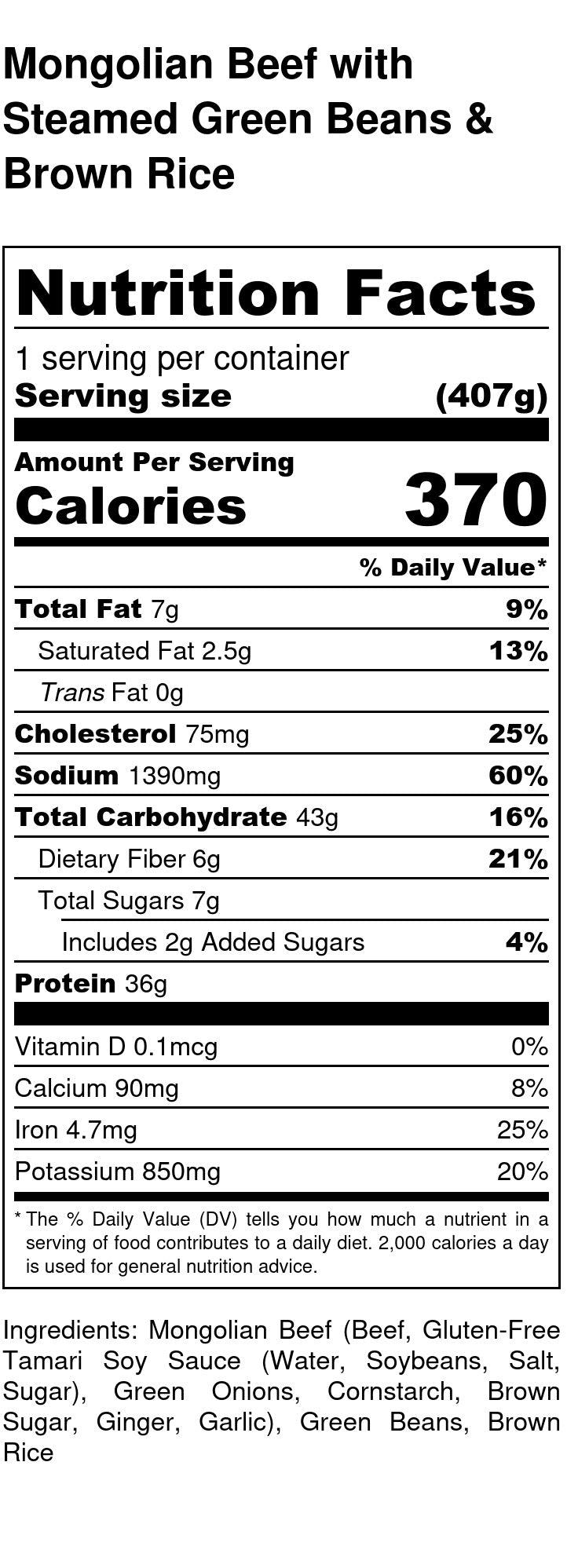 Mongolian Beef Nutrition Facts