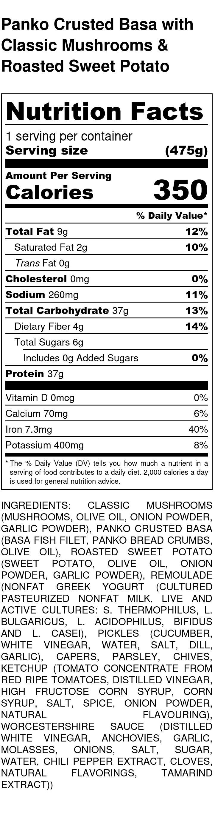 Panko Crusted Cod Nutrition Facts