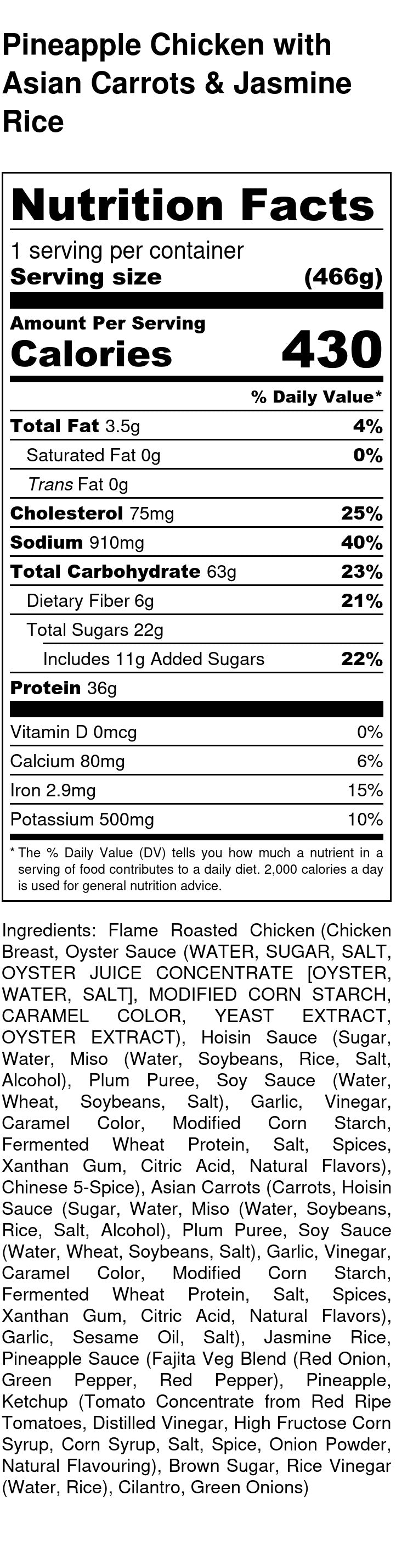 Pineapple Chicken Nutrition Facts