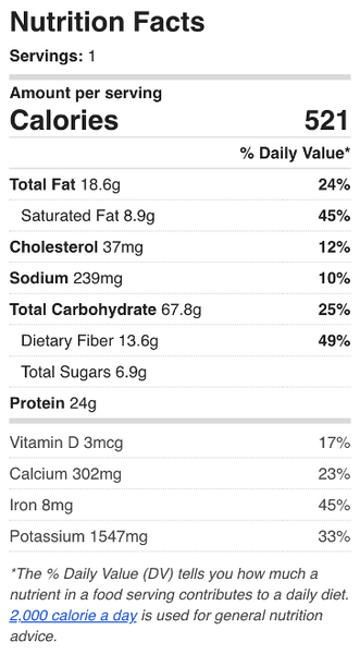 Sweet Potato & Black Bean Burrito Bowl Nutrition Facts