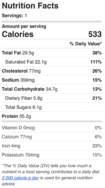 Thai Curry Chicken Nutrition Facts