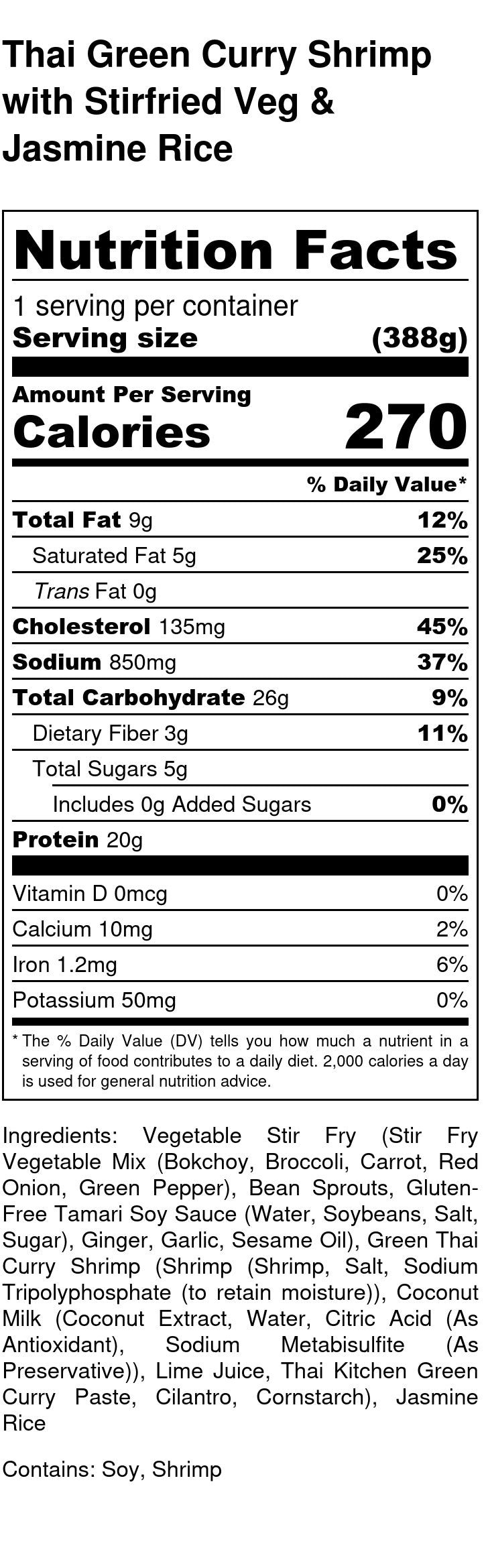 Thai Green Curry Shrimp Nutrition Facts