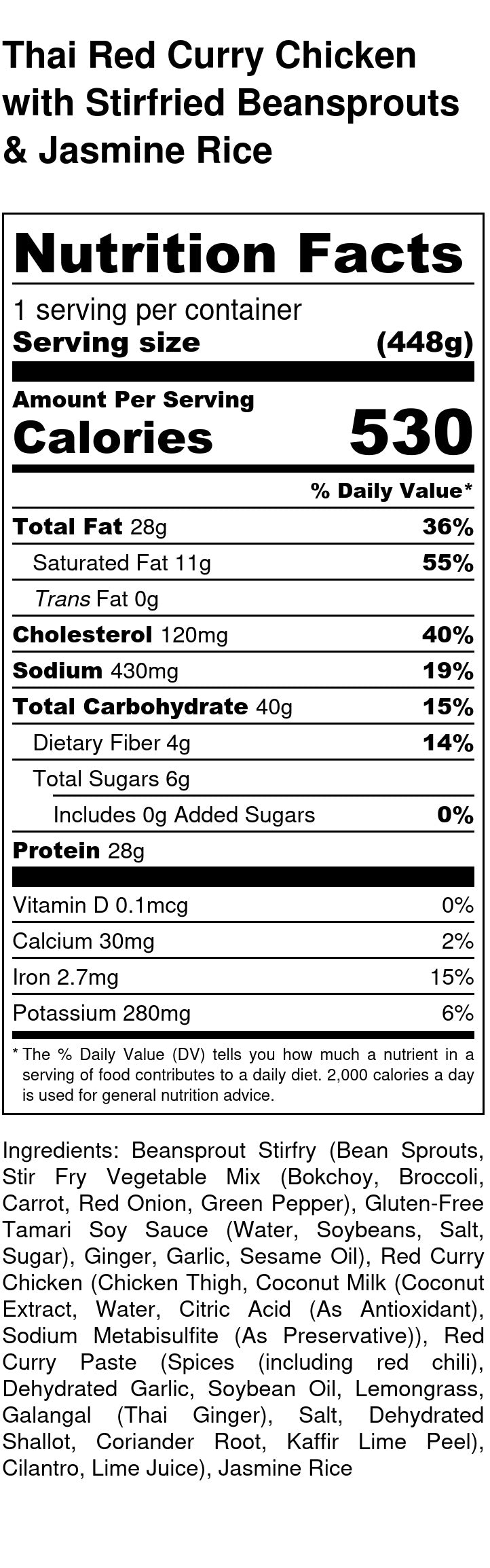 Thai Red Curry Chicken Nutrition Facts