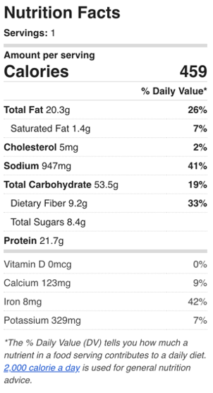 Vegan Jambalaya Nutrition Facts
