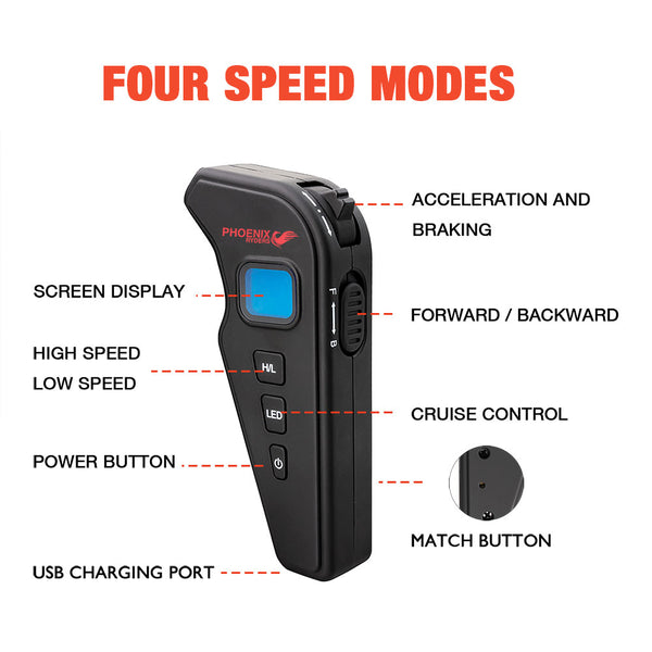 Replacement LCD Display Remote of Electric Skateboard(P3,P4,P6)with Four Speed Modes