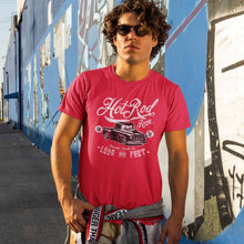 Load image into Gallery viewer, Guy wearing retro streetwear Hot Rod Racert-shirt from Shirty Store
